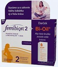 FemiBion 2 kyselina listová a Metafolin+DHA+Vit.D3 Duopack 2 x 30 tabliet + 2 x 30 kapsúl + darček 10 trblietavých tetovaní na bruško