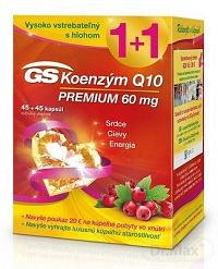 GS Koenzým Q10 60 mg PREMIUM + 2018 cps 45+45 (90 ks) + ový poukaz, 1x1 set