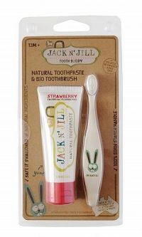 JACK N´JILL Prírodná detská zubná pasta s príchuťou JAHODA + BIO zubná kefka ZAJKO, 1x1 set