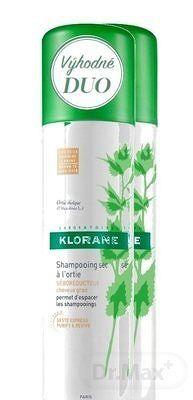 KLORANE SHAMPOOING SEC À L'ORTIE (DUO) (inovácia 2018) suchý šampón s výťažkom zo žihľavy pre hnedé vlasy 2x150 ml, 1x1 set