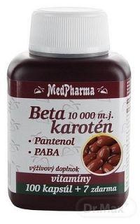 MedPharma BETAKAROTÉN 10 000 m.j.+Pantenol+PABA cps 100+7 (107 ks)