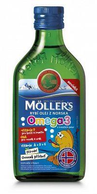 MOLLER´S Omega 3 RYBÍ OLEJ Ovocná aróma z pečene tresiek, 250 ml