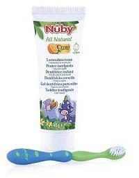 Nuby detská zubná pasta All Natural 45 g a zubná kefka 24m+