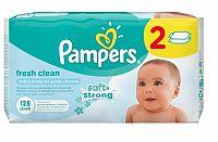 Pampers baby wipes Fresh clean 2x64 kusov - vlhčené obrúsky