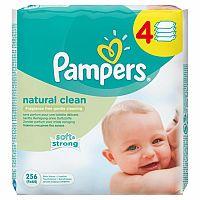 PAMPERS baby wipes NATURAL CLEAN 4-balenie vlhčené obrúsky, soft&strong (inov.2016) 4x64 (256 ks)