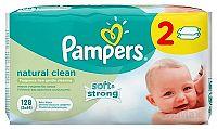 PAMPERS baby wipes NATURAL CLEAN Economy 2 vlhčené obrúsky, chamomile, 2x64 (128 ks)