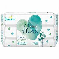 PAMPERS baby wipes PURE Aqua vlhčené obrúsky náplň 3x48 (144 ks)
