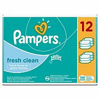 Pampers Fresh Clean 12x64 kusov - vlhčené obrúsky