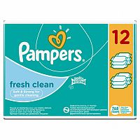 Pampers Fresh Clean - vlhčené obrúsky 12 x 64 kusov