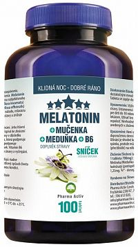 Pharma Activ Melatonín Sníček Mučenka Meduňka B6 tbl (medovka) 1 x 100 ks