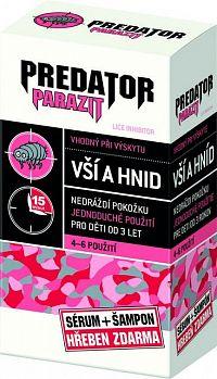 PREDATOR PARAZIT pri výskyte vší a hníd PACK sérum 100 ml + šampón 100 ml + kovový hrebeň , 1x1 set