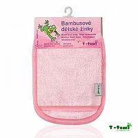 T-tomi Kúpacie žinky-rukavice, biela s ružovým lemovaním 1x2 ks