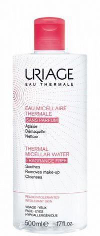 Uriage Eau Micellaire Thermale micelárna čistiaca voda pre citlivú pleť so sklonom k podráždeniu bez parfumácie (Soothes Removes Make-Up Cleanses) 500 ml