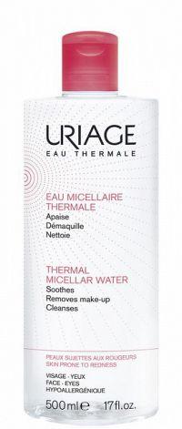 Uriage Eau Micellaire Thermale micelárna čistiaca voda pre citlivú pleť so sklonom k začervenaniu (Soothes, Removes Make-Up, Cleanses) 500 ml