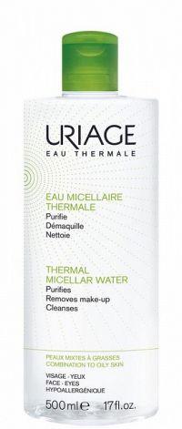 Uriage Eau Micellaire Thermale micelárna čistiaca voda pre zmiešanú a mastnú pleť Purifies Removes Make-up Cleanses 500 ml