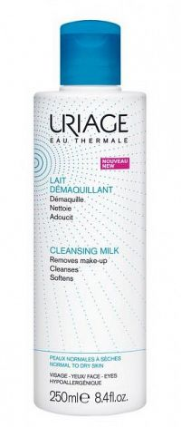 Uriage Hygiène odličovacie mlieko pre normálnu až suchú pleť make-up Remover Milk For Normal To Dry Skin Face And Eyes 250 ml