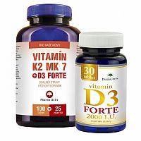 Vitamín K2 MK7+D3 For. Vitamín D3 For.2000/I.U. 125 tabliet + 30 tabliet