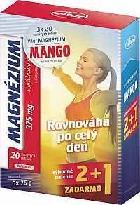 VITAR MAGNÉZIUM 375 mg tbl eff s príchuťou manga (2+1 ) 3x20 (60 ks), 1x1 set