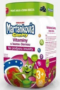 WALMARK Marťankovia Gummy Vitamíny s Bazou čiernou želatínové tablety, príchuť jablko a čierna ríbezľa 1x50 ks