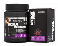 BCAA Synergy + Nitrox Pump Zadarmo - Prom-IN 550 g + 10x15 g Orange
