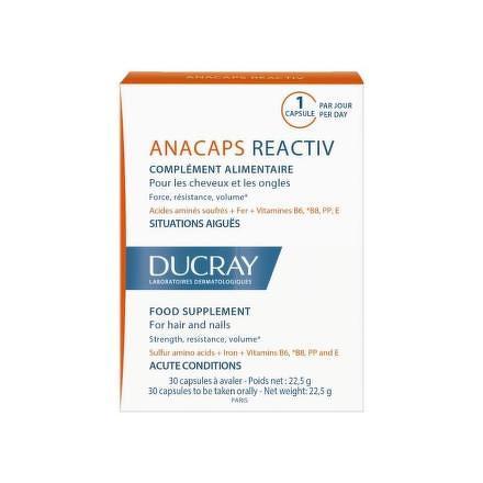 DUCRAY ANACAPS REACTIV cps pre vlasy a nechty 1x30 ks  73d9b0d2748