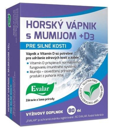 Evalar HORSKÝ VÁPNIK s MUMIJOM + D3 tbl 1x80 ks