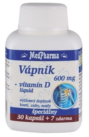 MedPharma VÁPNIK 600 mg + Vitamín D liq. cps 30+7 zadarmo
