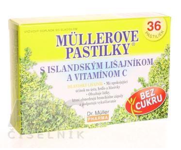 MÜLLEROVE PASTILKY s island. lišajníkom a vit. C bez cukru 36ks