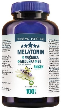 Pharma Activ Melatonín Sníček Mučenka Meduňka B6 tbl 1x100 ks