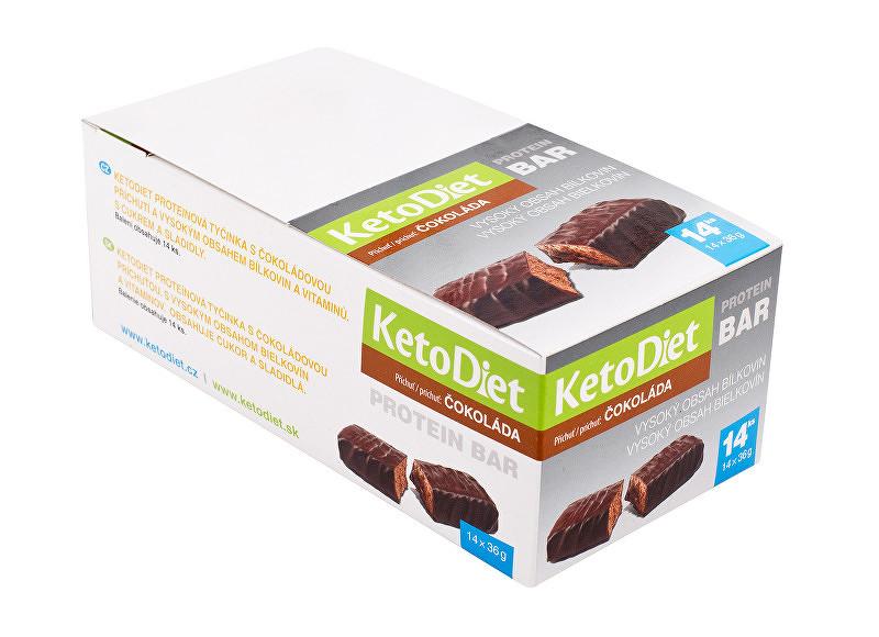 KetoDiet Proteínová tyčinka príchuť čokoláda 14 x 36 g