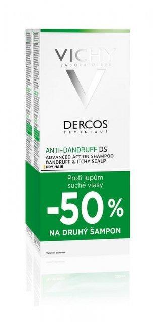 Vichy dercos Anti-pelliculaire Šampón proti lupinám na suché vlasy 2 x 200 ml