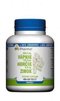 BIO Pharma Vápnik Horčík Zinok tbl 100+50