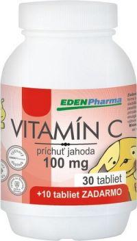 EDENPharma VITAMÍN C 100 mg príchuť jahoda tbl 30+10 zadarmo