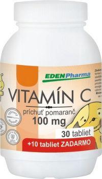 EDENPharma VITAMÍN C 100 mg príchuť pomaranč tbl 30+10 zadarmo