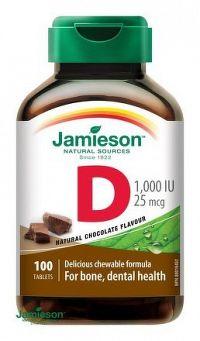 J - Vitamín D3 1000 IU ČOKOLÁDA 100tbl. cmúľ.
