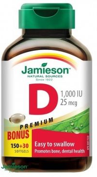 J - Vitamín D3 1000 IU Softgels 150+30 BONUS