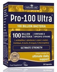 Natures Aid PRO-100 MAX -100 milárd baktérii 8 probiotických kmeňov 30 cps.