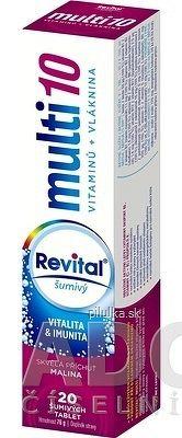 Revital multi 10 vitamínov + vláknina šumivý tbl eff s príchuťou malina 1x20 ks
