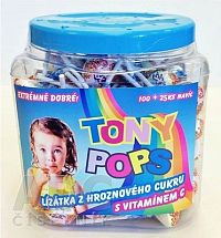 TONY POPS Lízanky s hroznovým cukrom s vitamínom C v dóze 100+25 naviac