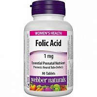 Webber Naturals Folic Acid 1 mg tbl 1x90 ks