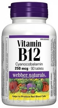 Webber Naturals Vitamin B12, 250 mcg tbl 1x90 ks