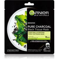 Garnier Skin Naturals Pure Charcoal  čierna textilná maska s extraktom z morských rias  28 g