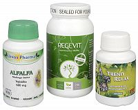 Doporučená kombinace produktů Na Žalúdok - Alfalfa + Regevit + Trend Relax