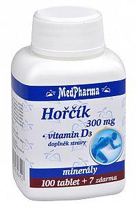 MedPharma Horčík 300 mg + vitamín D3 100 tbl. + 7 tbl. ZADARMO