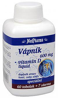 MedPharma Vápnik 600 mg + vitamín D liquid 60 tob. + 7 tob. ZADARMO