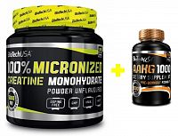 Akcia: 100% Creatine Monohydrate + A-AKG 1000 - Biotech USA 500 g + 100 tbl.