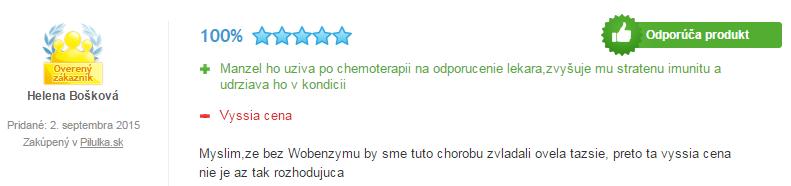 Skúsenosti s užívaním Wobenzym po chemoterapií.