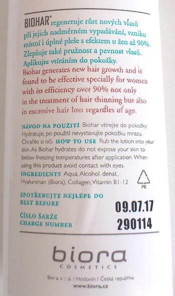 Zloženie Biohar vlasový aktivátor