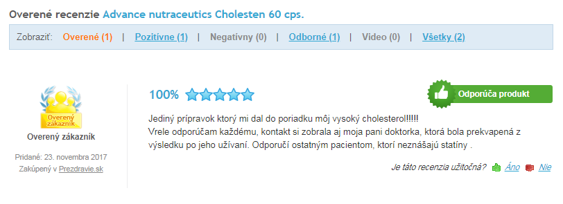 recenzie a skúsenosti s Cholesten na Heureke