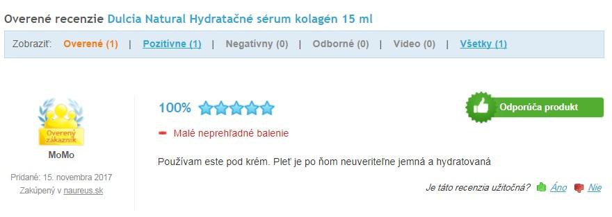 Pleťové hydratačné sérum kolagén Dulcia recenzia